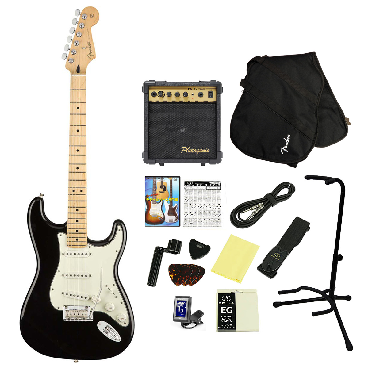 Fender / Player Series Stratocaster Black Maple 16点アクセサリーセット